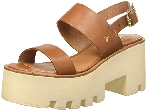 Windsor Smith Buffy Scarpe col Tacco con Cinturino a T Donna, Marrone (Tan) 37 EU