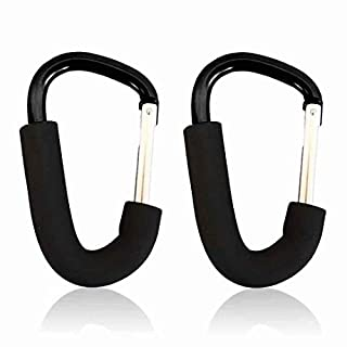 Wholesale Solutions® - 2x Black Large Buggy Clips For Pram Pushchair, Shopping Secure Hooks