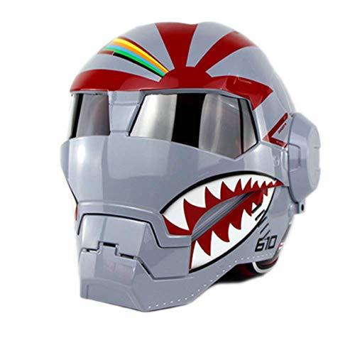 Peakedness Iron Man Motorrad Vollgesichtsmaske Geistermaske Helm Transformers Helm, Motocross Helm Racing Schutzhelm Ritter Offroad Helm Cooler Offroad Helm,B,XL