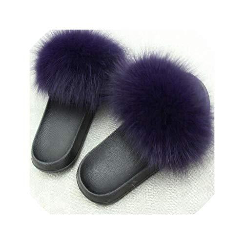 2019 Echt Pelz Hausschuhe Folien Schuhe Fury Fluffy Slipper Flip Flops Sandalen Sliders Drag Sandale Sommer Frauen Sandalen,Purple,8.5
