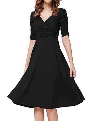 MuKe -  Vestito  - Maniche lunghe  - Donna MK-LYQ5-Black