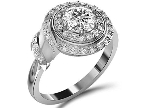 18ct Oro Blanco En forma de Circulo Anillo de Diamante, 1,33 ct Diamante, GH-SI, 4,4 gramos,