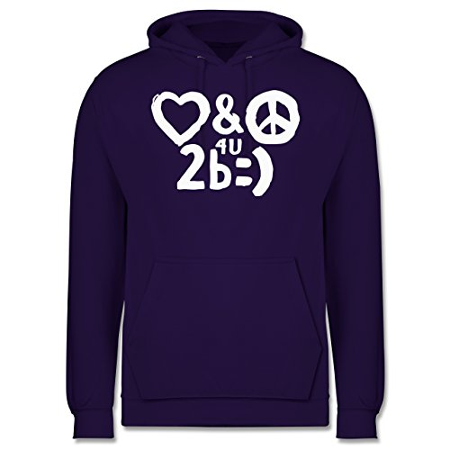 Symbole - Love & Peace for you to be happy - S - Lila - JH001 - Herren Hoodie (Lila Hoodie Peace)