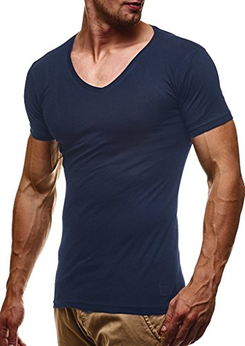 LEIF NELSON Herren Sommer T-Shirt V-Ausschnitt Slim Fit Baumwolle-Anteil | Basic Männer T-Shirt V-Neck Hoodie-Sweatshirt Kurzarm lang | LN6372 Blau X-Large -