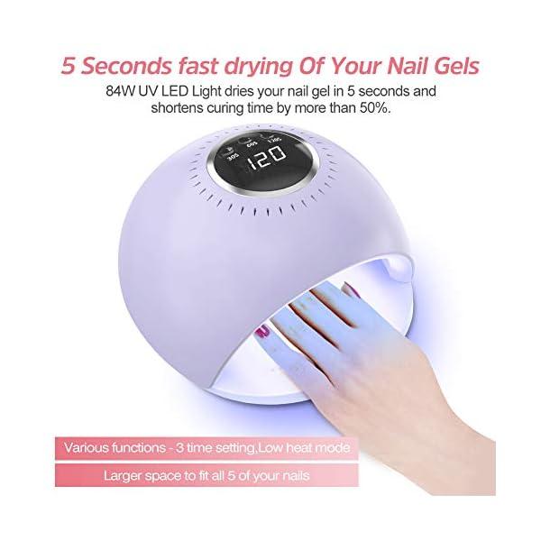 Lámpara LED UV Uñas – 84W Secador de Uñas con 5 segundos de secado rapido y Sensor Automático para manicura/pedicura de…