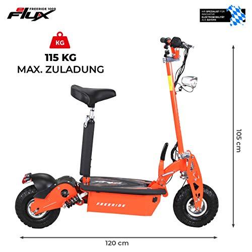 E-Scooter Roller Original E-Flux Freeride 1000 Watt 48 V mit Licht und Freilauf Elektroroller E-Roller in vielen Farben (orange) - 4
