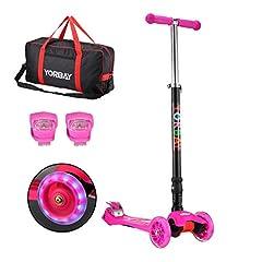 Idea Regalo - Yorbay Monopattino a 3 Ruote per Bambini Regolabile Scooter Freestyle Pieghevole Fino a 60 kg, LED Ruote, alla Luce Rana, Sacchetto (Rosa)