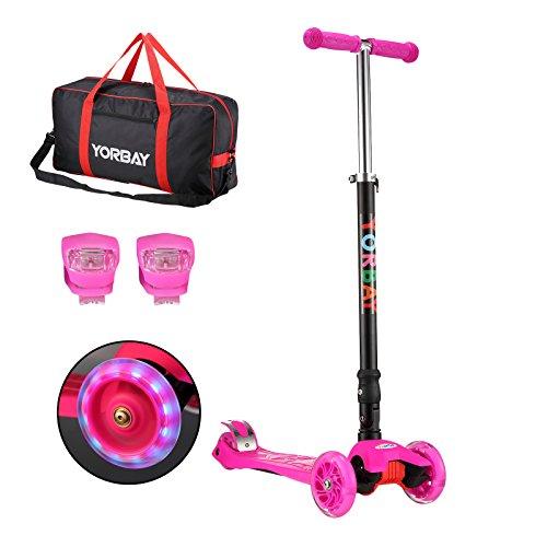 Yorbay Monopattino a 3 Ruote per Bambini Regolabile Scooter Freestyle Pieghevole Fino a 60 kg, LED Ruote, alla Luce Rana, Sacchetto (Rosa)
