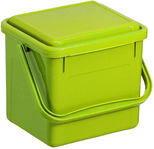 Rotho Compost Cubo Bio, Cubo de Basura para la Cocina de plástico con Tapa en Verde, biomülle imer...