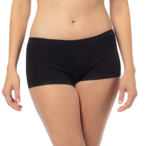 Libella - Culotte de Algodón para Mujer (Paquete de 6) - Bóxer Minishorts - 3901Negro XL
