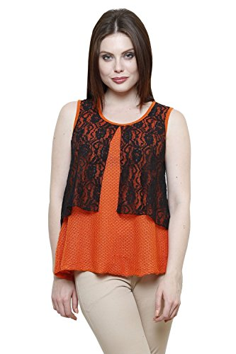 Renka Orange Round Neck Solid Lace Crop Tops For Women