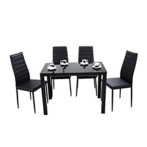 Panana Glass Dining Table Set with 4 Faux Leather High Back Chairs Modern Seats Home Furniture 120cm x 80cm x