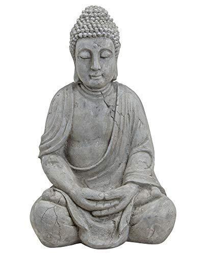 Wurm Design Genialer Buddha 50cm in Grau aus Magnesia Figur Modell Mönch Garten