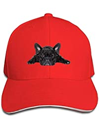 a0c57dc495b9c Duyhat French Bulldog Men and Women Black Baseball Caps Sandwich Cotton Hat