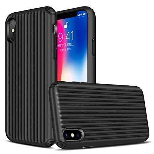 BINISSCQIRITHII Fall für iPhone X/iPhone XS Reise-Kasten-Form TPU + PC schützender Fall für iPhone X/XS (Farbe : Schwarz) -
