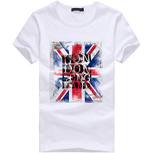 Amlaiworld Herren Buntes Mode-Flaggen-Druck-T-Shirt, Herren neue Art-Kurzschluss-Hülsen-Hemden S~XXXXL (L, Weiß)