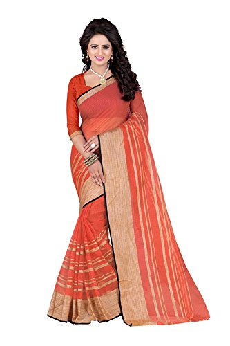 SUNSHINE Orange Color Poly Cotton Fabric Beautiful Border Saree( New Arrival Latest Best Design Beautiful Saree Material Collection For Women and Girl Party wear Festival wear Special Function Events Wear In Low Price With Todays Special Offer with Fancy Designer Blouse and Bollywood Collection 2017 )  available at amazon for Rs.319