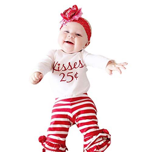 aby Mädchen Brief Strampler Tops gestreifte Hose Set Valentine Outfits Infant Letters Valentinstag Spitzen Streifen Hose Set (70, Weiß) ()