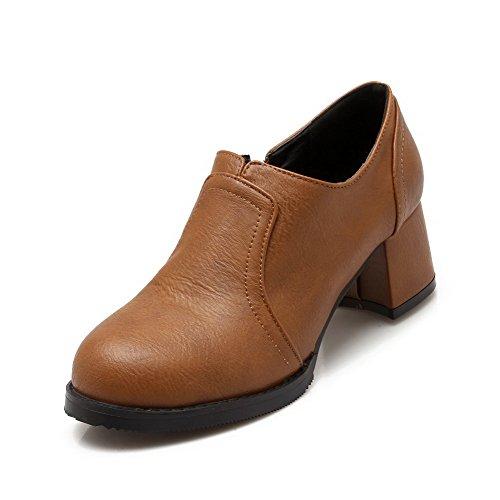 VogueZone009 Femme Couleur Unie Matière Mélangee à Talon Correct Tire Rond Chaussures Légeres Jaune