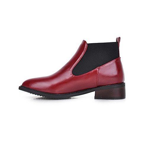 AgooLar Damen Ziehen Auf Niedriger Absatz Pu Leder Gemischte Farbe Niedrig-Spitze Stiefel Rot