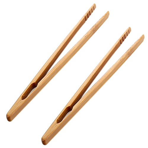 Vikenner 2 Pcs Bamboo Food Tong Scoop Clip Teahouse Teacup Clamp Clip Wooden Toast Tongs for Tea Bacon Sugar Ice Salad - Style 1