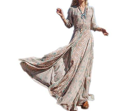 ASSKDAN Femme Bohème Robe de Plage d'été Moussline de Soie Imprimé Manche 3/4 Col V Tassel Maxi Robe Gris