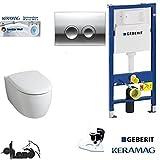 Geberit Duofix Vorwandelement, KERAMAG ICON WC Spülrandlos Komplettset + Deckel *Kein Softclose*, Keratect , Schallschutz, Drückerplatte chrom