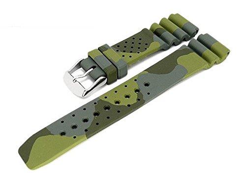 Meyhofer Uhrenarmband Malta 22mm Camouflage Oliv-grün Kautschuk MyBnskb02/22mm/oliv/oN