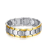 Bicolor Health Healing Magnetic Bracelet,Double Rows Magnets Adjustable Mens Bracelet