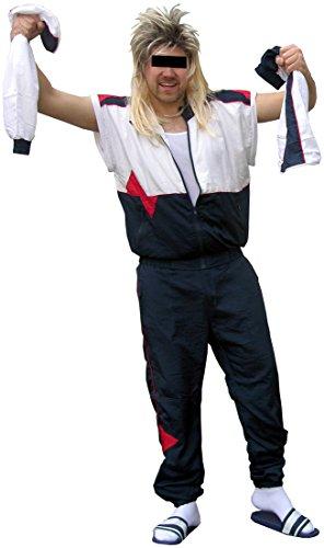 baren Ärmeln - 80er Jahre Trainingsanzug 80s Retro echter Jogginganzug Kleidung (Weiß-Blau, XXXL) (80er Jahre Anzug Kostüm)