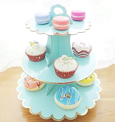 CiMi Torre/Cartón Cupcake Soportes - 3 Nivel Postre Cupcake árbol Pantalla Soporte - Baby Showers, Bodas, Cumpleaños 30.5cm * 32,5cm (L x H)