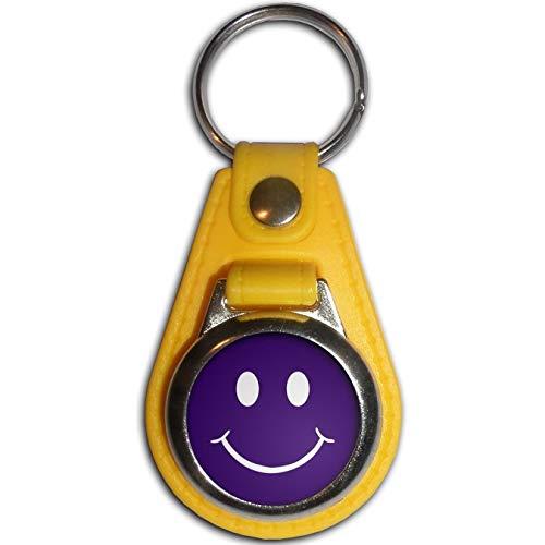 BadgeBeast.co.uk Purple Smiley - Gelber Plastikmedaillon-Schlüsselring
