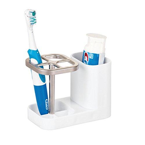 """mDesign """"Dental Center"""" Zahnbürstenhalter - Halterung für Zahnbürsten & Zahncreme aus Plastik - praktisches Badaccessoire - weiß"""