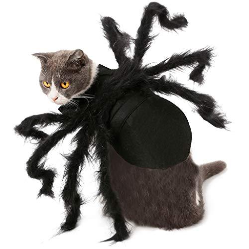 Hunde Kostüm Großer Spinne - Dkings Pet Spider Harness Kostüm, Halloween Haustiere Simulation Plüsch Spinne Kleid mit verstellbaren Hals Paste Schnalle für Hunde, Katzen, große