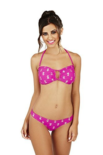Damas Piña Estampado Bikini Palabra De Honor Juego - Fucsia, UK 12