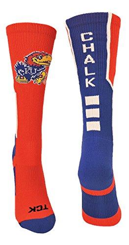TCK Sport Rock Kreide Jayhawks Perimeter Crew Socken, Jungen Damen Mädchen Herren, Scarlet/Royal/White, X-Large