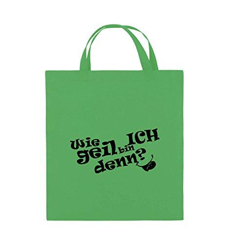 Borse Comiche - Quanto Sono Figo? - Lingua - Borsa Di Juta - Manico Corto - 38x42 Cm - Colore: Nero / Rosa Verde / Nero