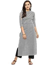 Idalia Women cotton Dotted Striped Black & White Straight KurtaI
