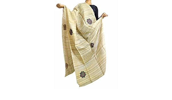 Giftpiper jute silk hand embroidered dupatta applique work: amazon