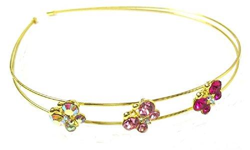Gold ton Rosa Schmetterling Stein Kopfband Haar Haarreif Tiara Hochzeit Brautschmuck Zubehör mit Kristall Schmuck