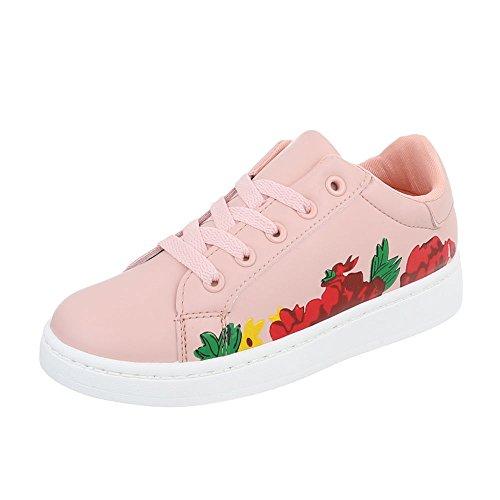 Ital-Design Low-Top Sneaker Damen-Schuhe Low-Top Sneakers Schnürsenkel Freizeitschuhe Rosa, Gr 41, W-125-