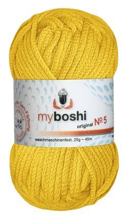 Myboshi No. 5, Farbe 513 löwenzahn, 25g Knäuel, Sommerwolle, häkeln, Seelengarn, 57% Baumwolle und 43% Polyamid, Trendwolle, Häkel- & Strickgarn
