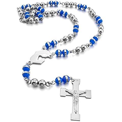 MunkiMix Acier Inoxydable Caoutchouc Pendentif Collier Ton d'Argent Bleu Vierge Marie Jésus Chrétien Crucifix Croix Rosaire 26 Pouce Chaîne Homme,Femme