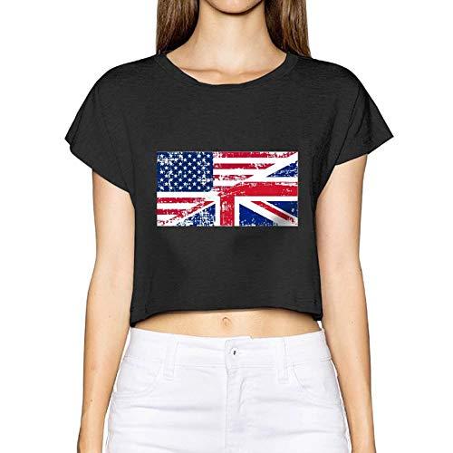 Frauen Sexy Revealed T-Shirt Retro England Amerikanische Flagge Kurzarm Bluse Tops T-Nabel (X-Large, Schwarz) - Cowl Neck Cream