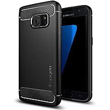 Spigen Rugged Armor - Funda Samsung Galaxy S7 con absorción de choque resistente y diseño de fibra de carbono TPU, color Negro