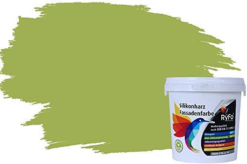 RyFo Colors Silikonharz Fassadenfarbe Lotuseffekt Trend Olivgrün 1l - bunte Fassadenfarbe, weitere Grün Farbtöne und Größen erhältlich, Deckkraft Klasse 1