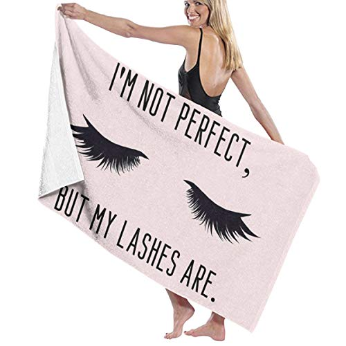 I'm Not But My Lashes Are. Funny Girly Make Up Quote with Eyelashes. 100% Polyester Beach Towel Chair Thick Soft Quick Dry Lightweight Absorbent Towels Blanket 32x52 Inch