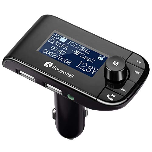 Houzetek Auto FM Transmitter Dual USB Bluetooth FM Transmitter 2 Zoll Auto Radio Bluetooth Adapter für iOS und Android