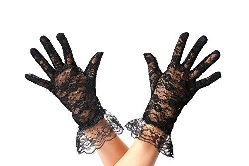 (DRESS ME UP RH-006-black Handschuhe Spitze Spitzenhandschuhe Damen Schwarz Gothic Goth Viktorianisch Biedermeier Diva)