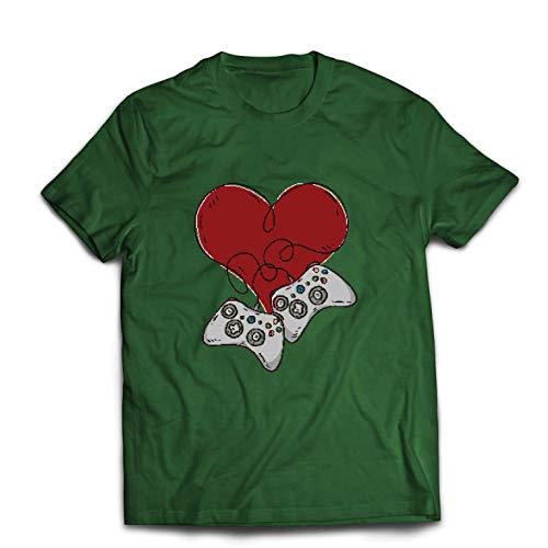 lepni.me Männer T-Shirt Video-Spieler, Controller Herz (X-Large Dunkelgrün Mehrfarben)